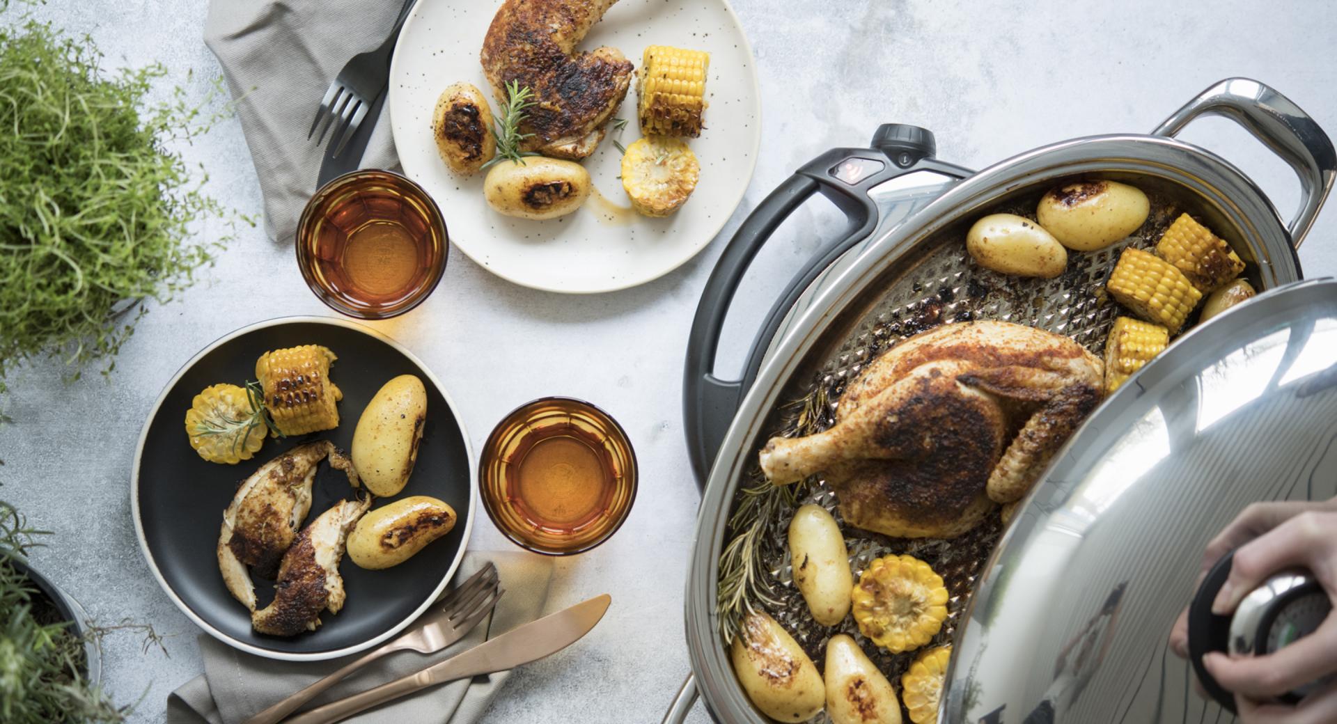 Pollo alla griglia con patate e mais