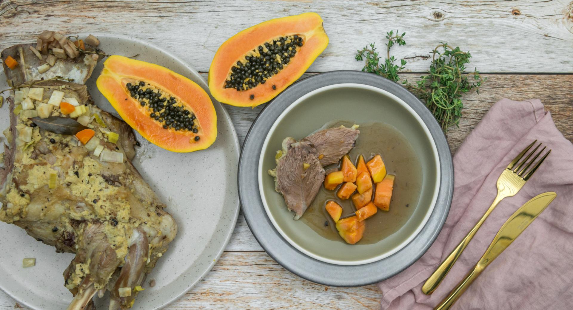 Cosciotto di agnello con salsa alla papaya e zenzero
