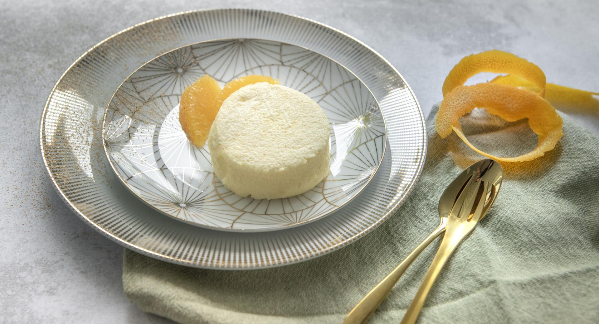 Soufflé di formaggio spalmabile con arance