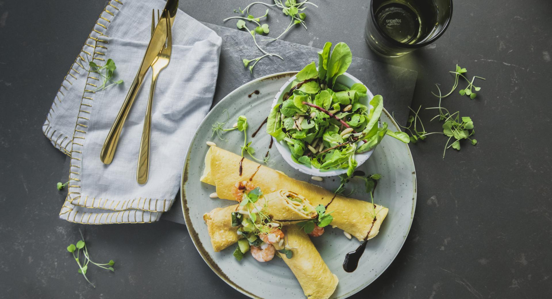 Crepes con gamberetti e zucchine