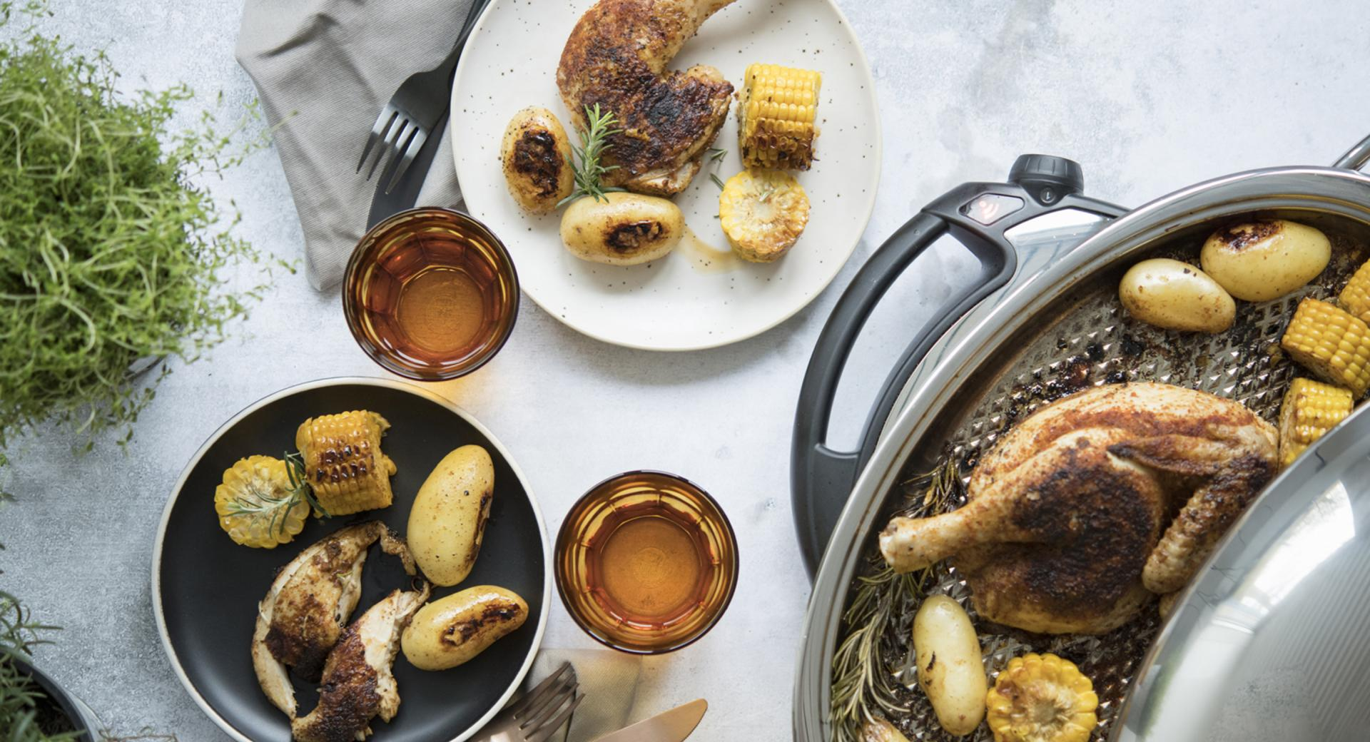 Pollo arrosto con patate e mais
