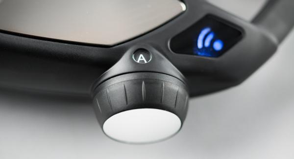 """Applicare Audiotherm su Visiotherm e ruotare finché non compare il simbolo """"vapore""""e la spia di Navigenio lampeggia di blu."""