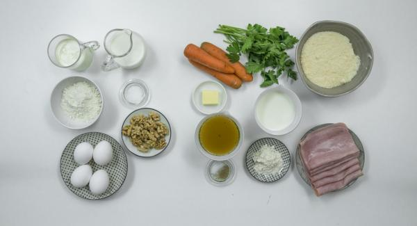 Disporre gli ingredienti sul piano.