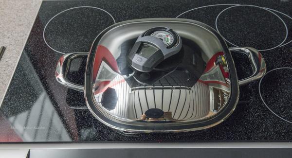 """Riposizionare Audiotherm sulla finestra """"carne"""" e cuocere il primo lato sino a raggiungere il punto di girata a 90°."""