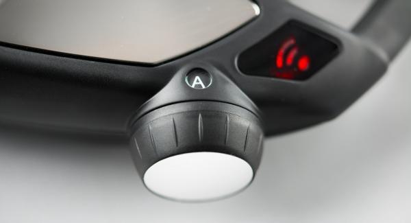 """Posizionare l'Unità di cottura su Navigenio impostato in modalità """"A"""". Posizionare Audiotherm sulla finestra """"vapore"""" dopo aver impostato un tempo di cottura di 5 minuti."""