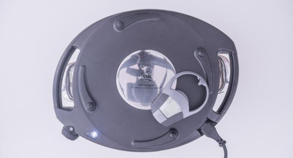 Al suono di Audiotherm, posizionare l'Unità nel suo coperchio capovolto e coprirla con Navigenio rivolto verso il basso, impostato a livello II. Mentre la spia lampeggia, inserire un tempo di 3 minuti su Audiotherm.