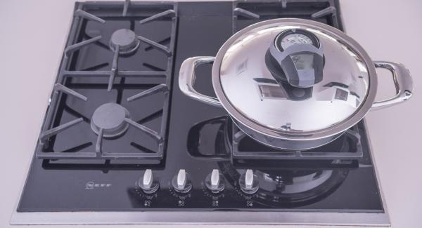 """Coprire l'Unità di cottura con il coperchio e posizionarla sul fornello a calore massimo. Con l'ausilio di Audiotherm riscaldare fino alla finestra """"carne""""."""