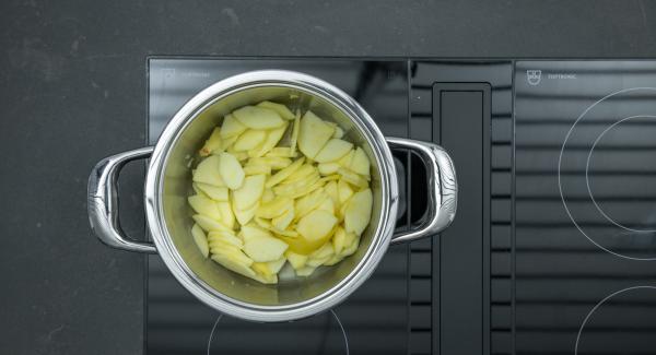 """Posizionare l'Unità sul fornello regolato a calore massimo. Accendere Audiotherm, inserire un tempo di cottura di 5 minuti, applicarlo su Visiotherm e ruotarlo finchè non compare il simbolo """"verdura""""."""