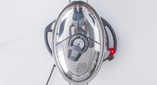"""Posizionare l'Unità Ovale su Navigenio impostato a livello 3. Accendere Audiotherm, applicarlo su Visiotherm e ruotarlo finchè compare il simbolo """"verdura""""."""
