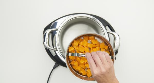 Pelare e tagliare la zucca e metterla nella Softiera. Versare 150 ml di acqua all'interno dell'Unità di cottura e inserire quindi la Softiera contenente la zucca. Chiudere l'Unità con Secuquick.