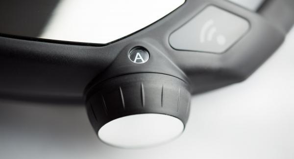 """Posizionare l'Unità su Navigenio impostato in modalità """"A"""". Accendere Audiotherm, impostare un tempo di cottura di 5 minuti, applicarlo su Visiotherm e ruotarlo finchè compare il simbolo """"soft""""."""