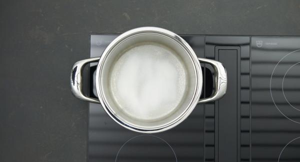 Togliere i semi e tagliare a metà il peperoncino. Mettere lo zucchero nell'Unità e posizionarla sul fornello a calore alto. Appena lo zucchero inizia a sciogliersi, abbassare il calore e caramellare.
