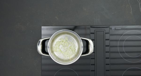 """Pelare la cipolla, tritarla finemente e trasferirla nell'Unità di cottura. Collocare l'Unità sul fornello e impostare a calore massimo. Accendere Audiotherm, applicarlo su Visiotherm e ruotarlo finché compare il simbolo """"carne""""."""