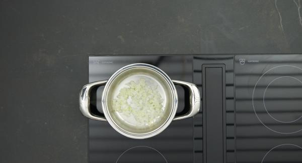 Mescolare il latte, la panna e l'amido di mais. Al suono di Audiotherm, abbassare il calore e rosolare il trito di cipolla. Aggiungere il composto di panna e latte e portare a bollore. Insaporire con sale, pepe e noce moscata.