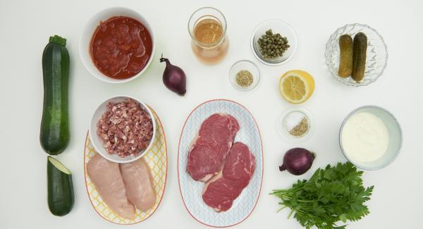 Disporre tutti gli ingredienti sul piano