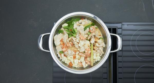 Insaporire il curry con abbondanti spezie.