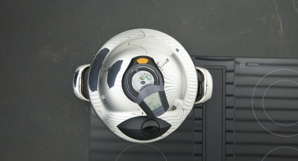 Al suono di Audiotherm, abbassare il livello e portare a cottura.