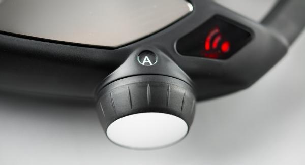 """Impostare Navigenio in modalità """"A"""" e inserire un tempo di cottura di 2 minuti su Audiotherm. Applicarlo su Visiotherm e girare finchè compare il simbolo """"verdura""""."""