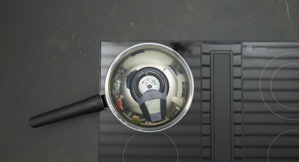 """Riscaldare la padella Arcobaleno a fuoco massimo. Accendere Audiotherm, applicarlo su Visiotherm e ruotarlo fino alla finestra """"carne""""."""