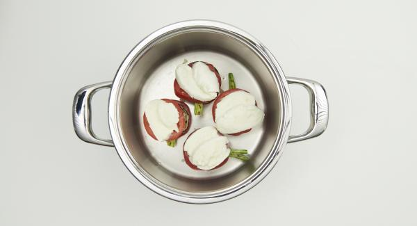 Disporre, all'interno dell'Unità di cottura, le verdure e la mozzarella a strati, alternando melanzana, zucchina, cipollotto, pomodoro e mozzarella terminando con una spolverata di parmigiano.