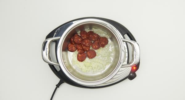 """Mettere cipolla e aglio nell'Unità. Impostare Navigenio a livello 6 e scaldare l'Unità fino alla finestra """"carne"""" con l'ausilio di Audiotherm applicato su Visiotherm."""