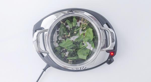 Al suono di Audiotherm, spegnere Navigenio, togliere l'unità di cottura dal fuoco e aggiungere gli spinaci, l'uvetta e i pinoli. Portare a cottura mescolando.
