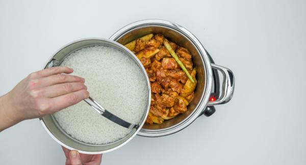 In una Softiera, mescolare il riso lavato, l'acqua e il sale, disporla all'interno dell'unità di cottura e coprire con il coperchio.