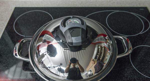 """Coprire con il coperchio e, con l'ausilio di Audiotherm applicato su Visiotherm, cuocere a calore massimo fino alla finestra """"carne""""."""