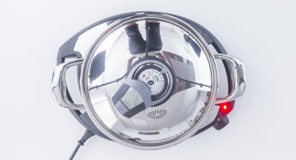 """Accendere Audiotherm, inserire un tempo di cottura di 20 minuti, applicarlo su Visiotherm e girare finchè compare il simbolo """"verdura""""."""