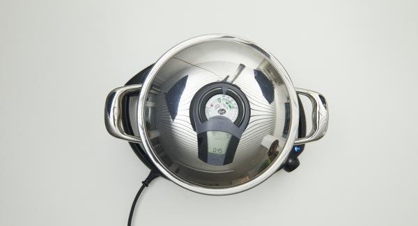 """Posizionare la Pentola su Navigenio e impostarlo su """"A"""". Accendere Audiotherm Plus e inserire un tempo di cottura di 45 minuti, applicarlo su Visiotherm e ruotarlo fino a visualizzare il simbolo 60°C."""