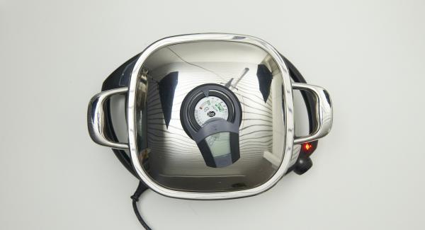 """Posizionare Arondo su Navigenio impostato al livello 6 e, utilizzando Audiotherm, riscaldare fino alla finestra """"carne""""."""