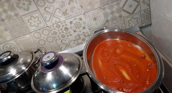 nell'unita' ovale creare un letto di salsa e quindi iniziare a stendere la lasagna
