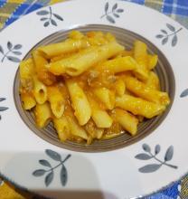 Pasta zucca salsiccia e gorgonzola
